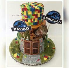 LEGO Jurassic World Cake. Much more complicated than I can do, but it is an idea Dinosaur Cake Pops, Lego Dinosaur, Dinosaur Birthday, 7th Birthday Cakes, 5th Birthday Party Ideas, Boy Birthday, Jurassic World Cake, Jurassic Park, Legos