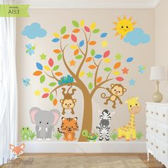 Modelo Safari Tree - Little Dreamer Deco Baby Room Design, Playroom Design, Baby Room Decor, Preschool Classroom Decor, Preschool Jungle, Deco Jungle, Diy Wall Painting, Baby Posters, Kids Room Wallpaper