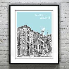 Brooklyn Heights New York Art Print New York City  Brownstones by AnInspiredImage on Etsy https://www.etsy.com/listing/156671119/brooklyn-heights-new-york-art-print-new
