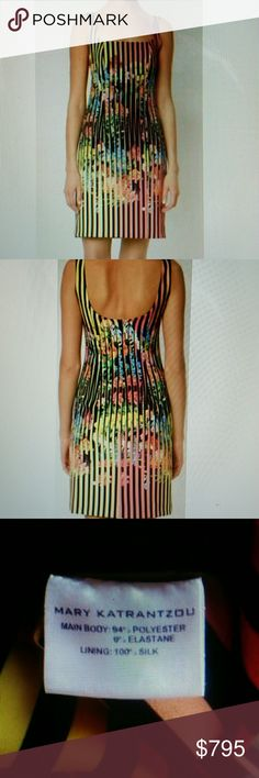 """MARY KATRANTZOU DRESS CLUE FULL CREPE TECHNO MARY KATRANTZOU DRESS CLUE FULL CREPE TECHNO CLUELESS FLOWER. ONCE WORN. LIGHT WHITE STAINS FROM DEODORANTS UNDER ARMPITS. SQUARE SCOOP NECKLINE WITH BACK SCOOP NECKLINE, BACK ZIP CLOSURE. ALL OVER STRIPE AND FLORAL PRINT,SLIM FITTING SILHOUETTE AND KNEE LENGTH CUT.94% POLYESTER 6%ELASTANE WITH 100% SILK LINING, DRY CLEAN. SIZE US 4 UK 8 IT 40.  LENGHT 35"""". 13.5 """" ARMPIT TO ARMPIT. all measurements are taking with the garment lying flat.ПР8. Mary…"""