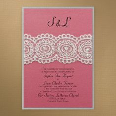 Lace and pearls create the vintage elegance of this layered invitation featuring fuchsia shimmer over silver shimmer.  Product Details      ...