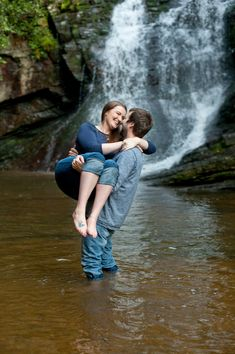 Woodsy Waterfall Engagement Session  Photo by: Shanna Duffy Photography