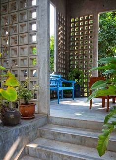 Do Pergolas Give Shade Decorative Concrete Blocks, Concrete Block Walls, Brick Design, Facade Design, House Design, Interior Exterior, Home Interior Design, Exterior Design, Indoor Garden