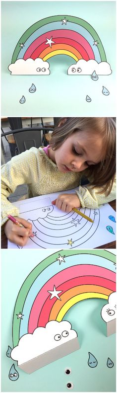 Free Printable Paper Rainbow with Coloring Option for Kids to color in. Then get all those little toy figures out and have them walk underneith the rainbow | by Hello June