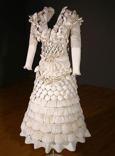 "BRIAN WHITE ~ ""White Dress"" (2004) tropical shells, fresco, metal; life size via Four in Maine 