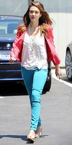 Hot pink blazer+ turquoise jeans+ tiered white top