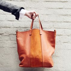 madewell et sézane, july 2015: light brown leather tote with suede center panel, #madewellxsezane