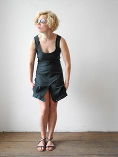 Milch collection cocktail dress made out of recycled old men's trousers