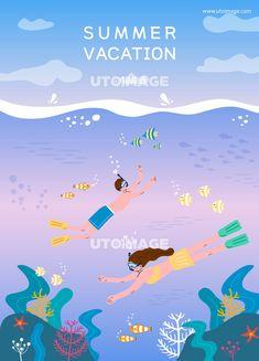 시원한 여름 여행 일러스트2(HYUN) D190718, 다울, 일러스트, 여름, 여행, 방학, 휴가, 여름방학, 여름휴가, 여름여행, 바다, 스노쿨링, 물고기, 해초, 산호, 불가사리, 수영, 다울, HYUN, 생활 Marker Art, Portfolio Design, My Arts, Ocean, Vacation, Drawings, Artist, Nature, Summer