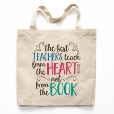 Teachers Teach from the Heart Canvas Tote Bag