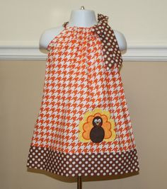 thanksgiving dress, applique turkey Pillowcase dress, thanksgiving outfit orange houndstooth brown and white polka dots, toddler dresses on Etsy, $29.50