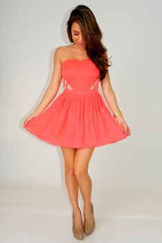 Don't Mind If I Do Dress: Neon Coral