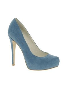 Faith Cadbury Platform Blue Court Shoes