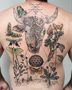 Mystic bisected bull with carved skull, medicinal wildflowers, sphere, moths and butterflies! Most of lines healed - some details and color fresh! Thanks David!
