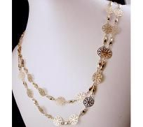"GoldTone Hand Made Filigree Chain Necklace 38"" long - Free Shipping"