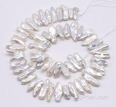 Biwa Perlen weiße Süßwasserperlen Perlen Mitte gebohrt von YouPearl