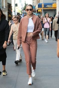 Gigi Hadid proves military jackets are better in fun colors