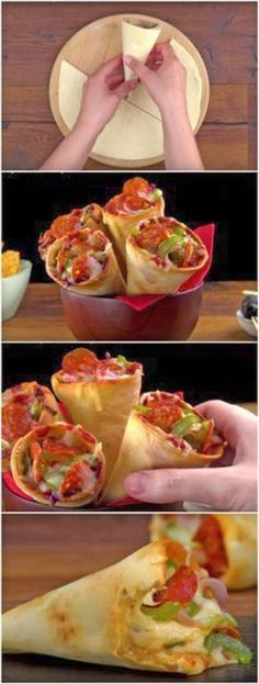 Pizza Cone all time The latest recipes and sweet suggestions. Pizza Recipes, Appetizer Recipes, Cooking Recipes, Pizza Snacks, Pizza Pizza, Pizza Cones, Pizza In A Cone, Tasty, Clean Eating Snacks