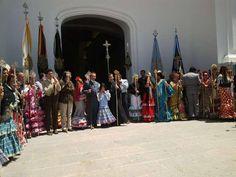 Las hermandades filiales son recibidas por la el Presidente de la Hermandad Matriz y el Alcalde de Almonte #ElRocio13