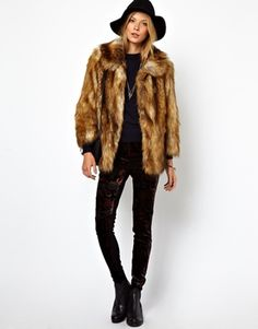 Image 4 of ASOS Vintage Faux Fur Coat