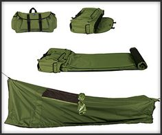 Backpack Bed | For traveling, camping or just crashing at your bud's place. Made of a lightweight, weatherproof, mildew-repelling fabric with a 6'2″ insulated foam mattress. Proceeds go to help the homeless.