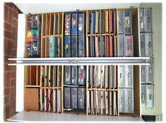 easy way to make shelves for paper - they don't need to be mounted; they support themselves with the middle brace.