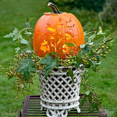 Artfully Carved Pumpkin