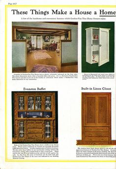 Interior views of Gordon-Van Tine Kit Homes Built-ins. Well the linen closet sure looks familiar. Craftsman Style Interiors, Craftsman Interior, Craftsman Kitchen, Four Square Homes, Bungalow Homes, Arts And Crafts House, Craftsman Bungalows, Vintage Interiors, Kit Homes