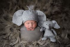 This cute Peanut newborn baby beanie has elephant ears and a little tuft of hair. A pink bow is included to add whenever you'd like. The precious Peanut elephant lovie coordinates so well with every i