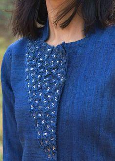 Midnight Blue Handwoven Kosa Silk Kurta with Cut-Fray Handwork Neck Designs For Suits, Neckline Designs, Dress Neck Designs, Stylish Dress Designs, Designs For Dresses, Long Dress Design, Silk Kurti Designs, Simple Kurta Designs, Churidar Designs