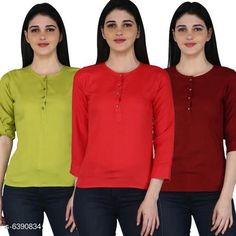 Tops & Tunics Women's Rayon Combo Tops Fabric: Rayon Sleeve Length: Three-Quarter Sleeves Pattern: Solid Multipack: 3 Sizes: S (Bust Size: 36 in Length Size: 26 in)  XL (Bust Size: 42 in Length Size: 26 in)  L (Bust Size: 40 in Length Size: 26 in)  M (Bust Size: 38 in Length Size: 26 in)  XXL (Bust Size: 44 in Length Size: 26 in) Country of Origin: India Sizes Available: S, M, L, XL, XXL   Catalog Rating: ★4.1 (11681)  Catalog Name: Women's Rayon Combo Tops CatalogID_1016457 C79-SC1020 Code: 014-6390834-2301