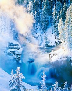 Firehole River Falls, Yellowstone National Park, Wyoming      Water flowing in winter from geysers and hot springs