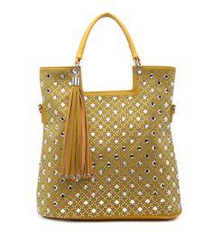 Žltá diamantová kabelka na rameno DKM-34459-yelow/crystal
