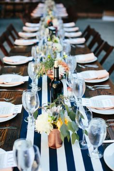Striped table runners on barnwood tables
