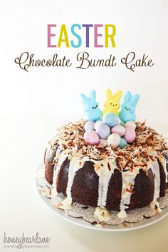Easter Chocolate Bundt Cake:  Such a fun cake for Easter--easy too!  www.honeybearlane.com #recipe #easter