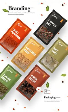 Just as the ingredients are important for a recipe, the design is equally important for a website. The design is the first impression, make it impactful! Spices Packaging, Organic Packaging, Food Packaging Design, Coffee Packaging, Packaging Design Inspiration, Brand Packaging, Bottle Packaging, Product Packaging Design, Game Design