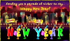 Colorful New Year 2017greeting Card