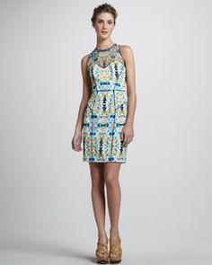 Milly Printed Mesh-Top Dress $375