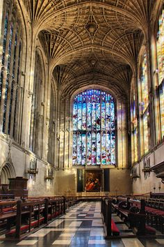 Kings College Chapel, Cambridge, England. Been there! We sat in a set of choir lofts! Such a beautiful chapel!
