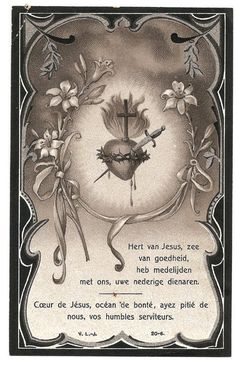Sacred Heart Antique Dutch & French Catholic Holy Prayer Card, Catholic Gift, Sepia Monochrome and Silver, Pierced Burning Flaming Heart Jesus And Mary Pictures, Tattoo Posters, Prayer Cards, Prayer Box, Vintage Holy Cards, Religious Pictures, Heart Of Jesus, Catholic Gifts, Holy Ghost