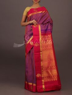 Devyani Paisley Motifs Lace Gold Border Wedding #DharmavaramSilkSaree