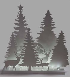 Plow & Hearth White Light-Up Deer & Trees Décor Silhouette Clip Art, Tree Silhouette, Tree Decorations, Christmas Decorations, Holiday Decor, White Light, Light Up, Deer Stencil, Wall Christmas Tree