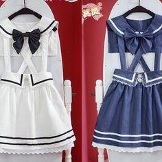 Sailor suspender high waisted skirt dress