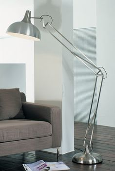 Oversized Floor Lamp oversized giant angle floor lamp in a brushed silver finish