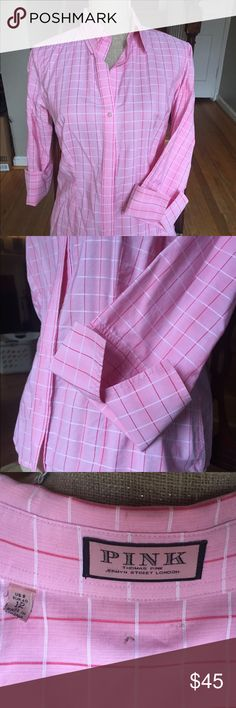 Thomas Pink Blouse size 8 Pink Thomas Pink blouse, 3/4 sleeve with wide fold up cuffs. Size 8 US (12 UK, EUR40).  Window pane check in white and hot pink. Excellent condition. Thomas Pink Tops Blouses