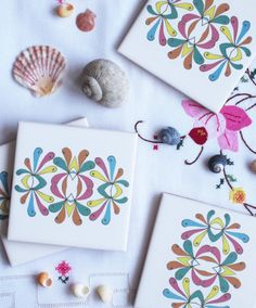 Ornate Floral Design Ceramic Tile 4 Coaster Set in Candy Colours with Cork Backing from Jacqueline Talbot Designs