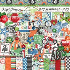 Pop A Wheelie: Boy Digital Scrapbooking Kit by Traci Reed & Jady Day Studio - let's go ride a bike, trike, scooter or toy car!