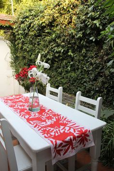 Red Orange  Otomi Runner by CasaOtomi on Etsy, Mexico, Tenango, mexican wedding, textile, mexican suzani, suzani, embroidery, hand embroidered, otomi, www.casaotomi.com, otomi, table runner, fiber art, mexican, handmade, original, authetic, textile ,