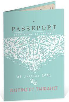Faire part mariage vintage sous la forme d'un passeport pour inviter vos proches à votre plus beau voyage, ref N401606