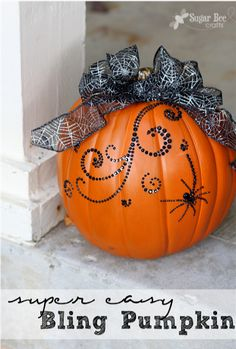 possibly the easiest and cutest way to decorate a pumpkin - sticky bling!